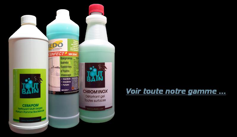 Détartrants et désinfectants pour douches et baignoires balnéo et hydro